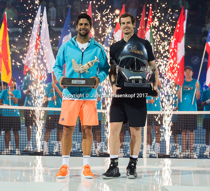 Sieger ANDY MURRAY (GBR) und Finalist FERNANDO VERDASCO (ESP), Herren Finale, Siegerehrung, Praesentation<br /> <br /> Tennis - Dubai Duty Free Tennis Championships - ATP -  Dubai Duty Free Tennis Stadium - Dubai -  - United Arab Emirates  - 4 March 2017. <br /> &copy; Juergen Hasenkopf