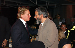 Left to right, actor MICHAEL DOUGLAS and YUSUF ISLAM former known as Cat Stevens at the Fortune Forum Dinner held at Old Billingsgate, 1 Old Billingsgate Walk, 16 Lower Thames Street, London EC3R 6DX<br />
