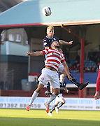 Dundee's Jim McAlister outjumps Hamilton's Dougie Imrie - Dundee v Hamilton, SPFL Premiership at Dens Park<br /> <br />  - &copy; David Young - www.davidyoungphoto.co.uk - email: davidyoungphoto@gmail.com