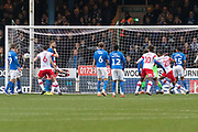 GOAL- Freddie Ladapo (10) pulls one back for Rotherham during the EFL Sky Bet League 1 match between Peterborough United and Rotherham United at London Road, Peterborough, England on 25 January 2020.
