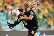 Rosie White looks to control possession during the Cup of Nations Women's Football match, New Zealand Football Ferns v Matildas, Leichhardt Oval, Thursday 28th Feb 2019. Copyright Photo: David Neilson / www.photosport.nz