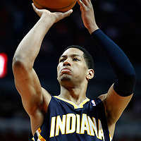 CHICAGO, IL - APR 18: Danny Granger #33 of the Indiana Pacers shoots a free throw during game 2 of the Eastern Conference First Round at the United Center on April 18, 2011 in Chicago, IL. NOTE TO USER: User expressly acknowledges and agrees that, by downloading and or using this photograph, User is consenting to the terms and conditions of the Getty Images License Agreement. Mandatory Credit: 2011 NBAE (Photo by Chris Elise/NBAE via Getty Images)
