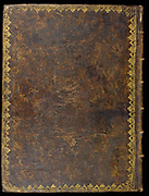 Goatskin binding on an ancient book cover printed in 1691