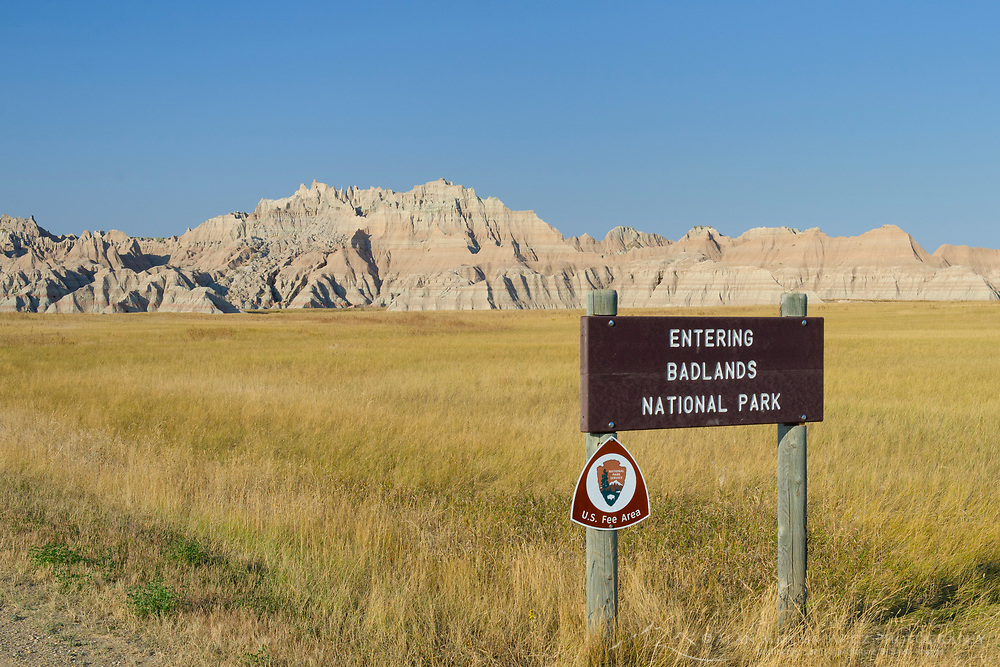 Park entrance sign. Badlands National Park South Dakota