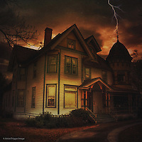 Night scene with old haunted house in USA with lightening strike