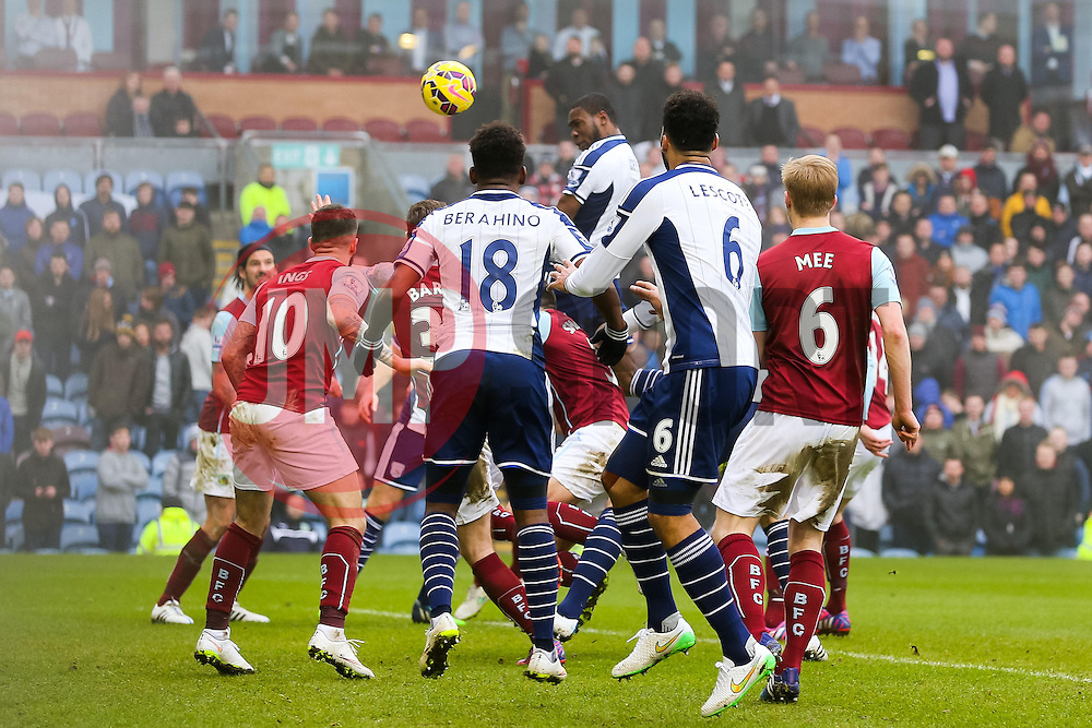 West Brom's Brown Ideye heads in the equaliser for 2-2  - Photo mandatory by-line: Matt McNulty/JMP - Mobile: 07966 386802 - 08/02/2015 - SPORT - Football - Burnley - Turf Moor - Burnley v West Brom - Barclays Premier League