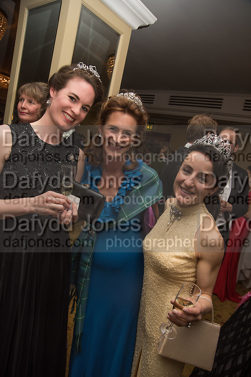 MARINA COBBE; SYBILLE RUSSELL; LADY HAMILTON OF DALZELL, The Royal Caledonian Ball 2015. Grosvenor House. Park Lane, London. 1 May 2015.