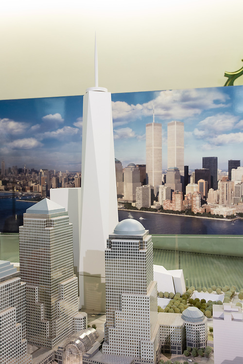 A model of Battery Park City, with One World Trade Center at its center.