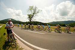 Tomaz Tomsic and cyclists during 2nd Stage (177,4 km) at 19th Tour de Slovenie 2012, on June 15, 2012, in Kocevje, Slovenia. (Photo by Urban Urbanc / Sportida.com)