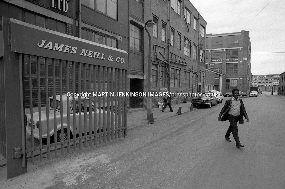 Workers leaving James Neill, Renton Street, Sheffield.