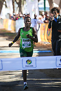 MOSSEL BAY, SOUTH AFRICA - SEPTEMBER 23: Loveness Madziva of Nedbank KZN wins the PetroSA Marathon hosted by Athletics South Western Districts (SWD) on September 23, 2017 in Mossel Bay, South Africa. (Photo by Roger Sedres/ImageSA)
