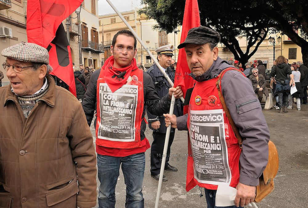 Termini Imerese,Sicily,  strike of workers in Termini Imerese, the seat of one of Fiat factory which is about to close, during the meeting.<br /> Termini Imerese sciopero indetto dalla Fiom: durante il comizio