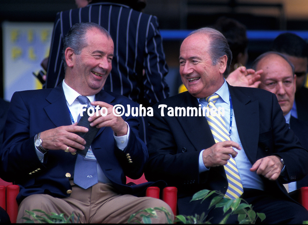 FIFA World Cup - France 1998.AFA President Julio Humberto Grondona and FIFA President Joseph S. Blatter at a match in St Etienne..©JUHA TAMMINEN