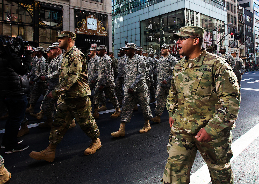 Members of the U.S. Army make their way up 5th Avenue during the Veteran's Day Parade in Manhattan on Friday, November 11, 2016. (Credit: Byron Smith)