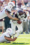 STARKVILLE, MS - SEPTEMBER 19:  De'Runnya Wilson #1 of the Mississippi State Bulldogs is tackled by Peyton Guidry #43 of the Northwestern State Demons at Davis Wade Stadium on September 19, 2015 in Starkville, Mississippi.  The Bulldogs defeated the Demons 62-13.  (Photo by Wesley Hitt/Getty Images) *** Local Caption *** De'Runnya Wilson; Peyton Guidry
