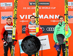 19.03.2017, Vikersundbakken, Vikersund, NOR, FIS Weltcup Ski Sprung, Raw Air, Vikersund, Finale, im Bild Kamil Stoch (POL, 2. Platz), RAW Air Gesamtsieger Stefan Kraft (AUT), Andreas Wellinger (GER, 3. Platz) // 2nd placed Kamil Stoch of Poland, RAW Air Overall Winner Stefan Kraft of Austria, 3rd Placed Andreas  Wellinger of Germany  //  during the 4th Stage of the Raw Air Series of FIS Ski Jumping World Cup at the Vikersundbakken in Vikersund, Norway on 2017/03/19. EXPA Pictures © 2017, PhotoCredit: EXPA/ Tadeusz Mieczynski