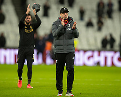 LONDON, ENGLAND - Wednesday, January 29, 2020: Liverpool's manager Jürgen Klopp celebrates after the FA Premier League match between West Ham United FC and Liverpool FC at the London Stadium. Liverpool won 2-0.  (Pic by David Rawcliffe/Propaganda)
