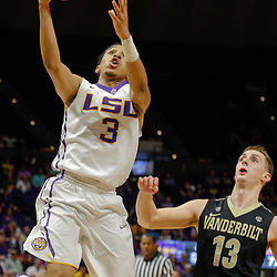 Feb 20, 2018; Baton Rouge, LA, USA; LSU Tigers guard Tremont Waters (3) shoots over Vanderbilt Commodores guard Riley LaChance (13) during the second half at the Pete Maravich Assembly Center. LSU defeated Vanderbilt 88-78. Mandatory Credit: Derick E. Hingle-USA TODAY Sports