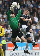 Dundee's Gary MacKenzie challenges St Johnstone keeper Alan Main - St Johnstone v Dundee, McDiarmid Park, Perth, 18/08/2007