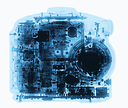 A Kodak Digital  camera is shown in X-ray. This camera the DC260 Zoom was manufactured in 2001.