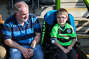 Young FGR supporter  during the EFL Sky Bet League 2 match between Forest Green Rovers and Milton Keynes Dons at the New Lawn, Forest Green, United Kingdom on 30 March 2019.