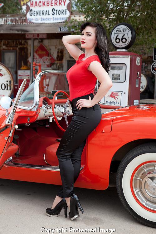 Pin-up model, 1957 Corvette, Route 66, Hackberry General Store, Arizona, model Kathleen Raye