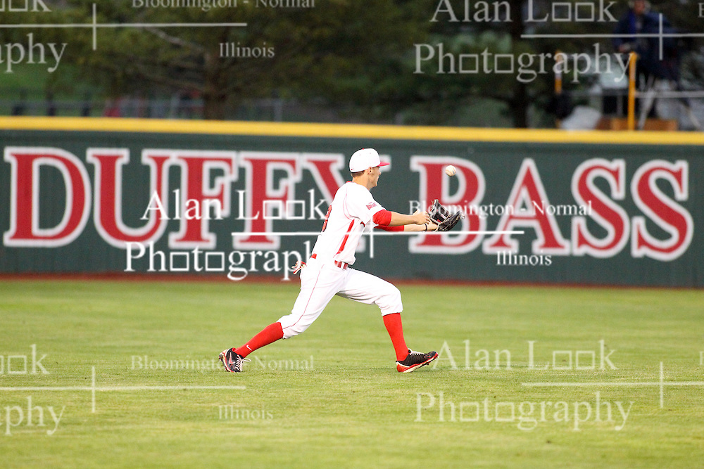 25 May 2013:  Sean Beesley field a git in left during an NCAA division 1 Missouri Valley Conference (MVC) Baseball Tournament game between the Wichita State Shockers and the Illinois State Redbirds on Duffy Bass Field, Normal IL