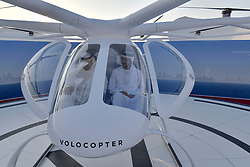 Dubai Crown Prince Sheikh Hamdan bin Mohammed Al Maktoum (right), attends presentation and first flight of the Volocopter 2X used as Autonomous Air Taxi, in Dubai, United Arab Emirates, on September 25, 2017. It is a drone that will be the world's first self-flying taxi service set to be introduced by Dubai's Road and Transport Authority (RTA), in the coming years. The two-seater vehicle, is capable of transporting people without human intervention or a pilot, and is supplied by Volocopter, a Germany-based specialist manufacturer of autonomous air vehicles. Photo by Balkis Press/ABACAPRESS.COM