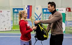 Second placed Tjasa Klevisar and Gregor Krusic at trophy ceremony after final match during Slovenian National Tennis Championship 2019, on December 21, 2019 in Medvode, Slovenia. Photo by Vid Ponikvar/ Sportida