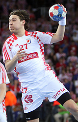 Ivan Cupic (27) of Croatia during 21st Men's World Handball Championship 2009 Main round Group I match between National teams of France and Croatia, on January 27, 2009, in Arena Zagreb, Zagreb, Croatia.  (Photo by Vid Ponikvar / Sportida)
