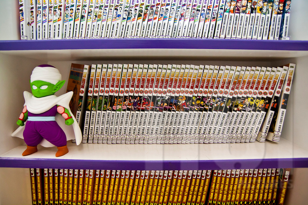Comic books lined up on a shelf next to a toy in the Japanese Foundation, Hanoi, Vietnam