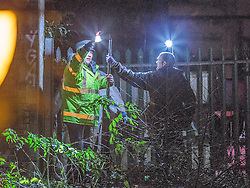 © Licensed to London News Pictures . 30/12/2013 . Manchester , UK . Police and forensic examiners at the scene believed to be where Adam Pickup's body has been discovered , overlooking the Bridgewater Canal near to Deansgate Train Station in Manchester City Centre . The search for 17 year old Adam Pickup who was last seen in the early hours of Saturday 28th December . Photo credit : Joel Goodman/LNP