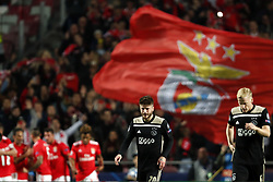 (l-r) Lasse Schone of Ajax, Donny van de Beek of Ajax during the UEFA Champions League group E match between  SL Benfica and Ajax Amsterdam at Estadio La Luz on November 97, 2018 in Lisbon, Portugal
