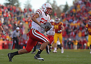 November 06 2010: Nebraska Cornhuskers tight end Kyler Reed (25) on a run during the second half of the NCAA football game between the Nebraska Cornhuskers and the Iowa State Cyclones at Jack Trice Stadium in Ames, Iowa on Saturday November 6, 2010. Nebraska defeated Iowa State 31-30.