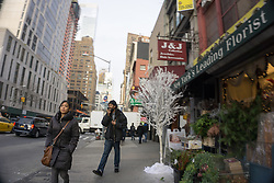 walking on the street in New York City