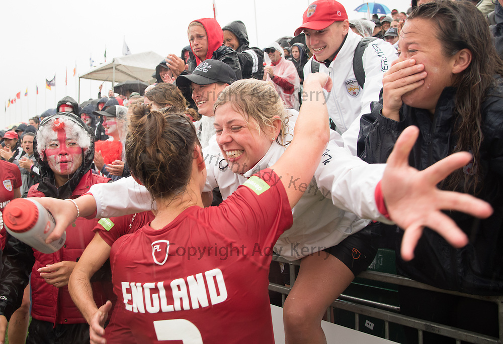 England fans and players celebrate at the end of the 3/4 place game at the 2017 FIL Rathbones Women's Lacrosse World Cup at Surrey Sports Park, Guilford, Surrey, UK, 15th July 2017