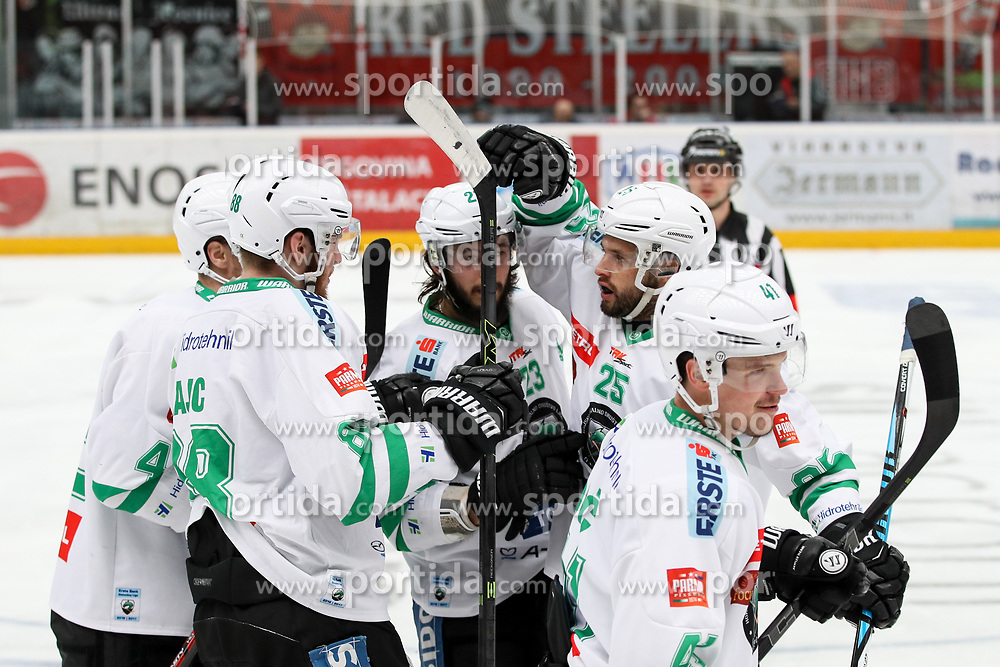 Players of Olimpija celebrates during ice hockey match between HDD SIJ Acroni Jesenice and HDD Olimpija Ljubljana in Final of Slovenian League 2016/17, on April 9, 2017 in Podmezaklja, Jesenice, Slovenia. Photo by Matic Klansek Velej / Sportida