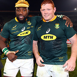 Tendai Mtawarira of South Africa on his 100th cap with Steven Kitshoff of South Africa during the 2018 Castle Lager Incoming Series 2nd Test match between South Africa and England at the Toyota Stadium.Bloemfontein,South Africa. 16,06,2018 Photo by (Steve Haag JMP)