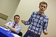 Author Owen Jones speaking at the 'Austerity isn't working' fringe event at the PCS Annual delegate conference 2012, Brighton. PCS Annual delegate conference 2012, Brighton.