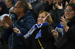 Leicester city fans celebrate.  - Mandatory by-line: Alex James/JMP - 10/01/2014 - FOOTBALL - King Power Stadium - Leicester, England - Leicester City v FC Copenhagen - UEFA Champions League