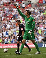 Photo: Rich Eaton.<br /> <br /> Manchester United v Chelsea. FA Community Shield. 05/08/2007. Manchester United's goalkeeper Edwin Van der Sar celebrates saving a penalty.