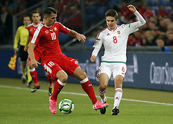 BASEL, Oct. 8, 2017  Switzerland's Granit Xhaka vies with Hungary's Adam Nagy during the FIFA World Cup 2018 Qualifiers Group B match between Switzerland and Hungary in Basel, Switzerland, Oct. 7, 2017. Switzerland won 5-2. (Credit Image: © Ruben Sprich/Xinhua via ZUMA Wire)