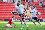 Bolton Wanderers forward Gary Madine (14) celebrating scoring opening goal 0-1 during the EFL Sky Bet Championship match between Charlton Athletic and Bolton Wanderers at The Valley, London, England on 27 August 2016. Photo by Matthew Redman.