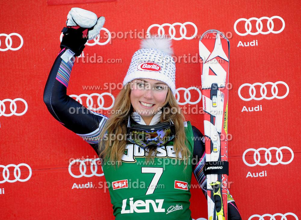 28.12.2013, Hochstein, Lienz, AUT, FIS Weltcup Ski Alpin, Lienz, Riesentorlauf, Damen, 2. Durchgang, im Bild Mikaela Shiffrin (USA) // Mikaela Shiffrin (USA) during the 2nd run of ladies giant slalom Lienz FIS Ski Alpine World Cup at Hochstein in Lienz, Austria on 2013/12/28. EXPA Pictures © 2013, PhotoCredit: EXPA/ Erich Spiess