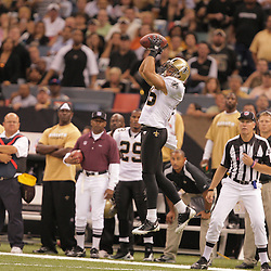 2008 October, 06: New Orleans Saints wide receiver Lance Moore (16) leaps for a catch during the first half of a week five regular season game between the Minnesota Vikings and the New Orleans Saints for Monday Night Football at the Louisiana Superdome in New Orleans, LA.