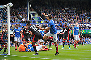 Portsmouth Defender, Christian Burgess (6) heads wide during the EFL Sky Bet League 1 match between Portsmouth and Milton Keynes Dons at Fratton Park, Portsmouth, England on 14 October 2017. Photo by Adam Rivers.