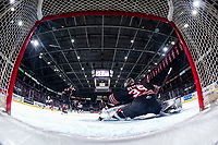 KELOWNA, BC - FEBRUARY 17: Brayden Peters #35 of the Calgary Hitmen makes a first period save against the Kelowna Rockets at Prospera Place on February 17, 2020 in Kelowna, Canada. (Photo by Marissa Baecker/Shoot the Breeze)