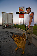 Conrad Tolby, a long-distance truck driver and ex-biker at the Flying J truck stop in Effingham, Illinois. (Conrad Tolby is featured in the book What I Eat: Around the World in 80 Diets.) MODEL RELEASED.