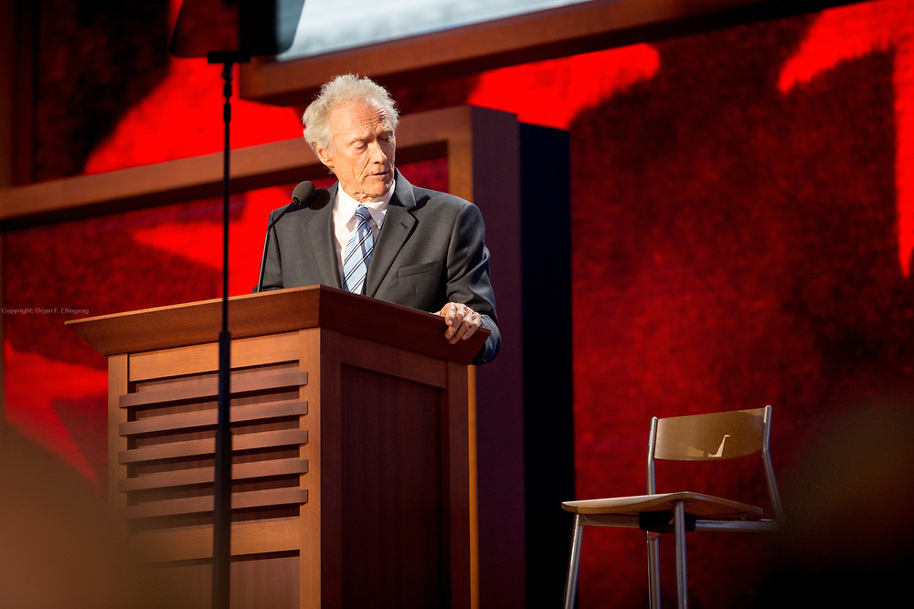 In one of the more odd performances during the RNC, actor Clint Eastwood talks to an empty chair at the final day of the Republican National Convention, as a warm-up to the acceptance speech by Presidential Hopeful Mitt Romney.
