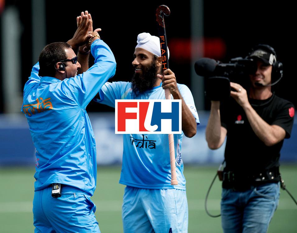 BREDA - Rabobank Hockey Champions Trophy<br /> India - Pakistan<br /> Photo: Harendra Singh celebrates the win.<br /> COPYRIGHT WORLDSPORTPICS FRANK UIJLENBROEK
